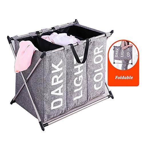 Wäschekörbe ZAY Zusammenklappbare Dreiteilige, Abnehmbare und wasserdichte Große Kordelzug (Color : Gray)