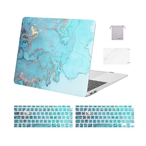 MOSISO MacBook Air 13 inch Case 2018-2020 A2337 M1 A2179 A1932, Plastic Watercolor Marble Hard Shell&Keyboard Cover&Screen Protector&Storage Bag Compatible with MacBook Air 13 inch Retina, Turquoise