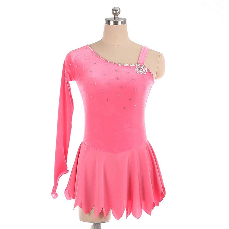 カスタマイズされた子供の大人のフィギュアスケートドレスの女の子は服の競争の等級のスカートを示します,Pink,AdultsSize:L