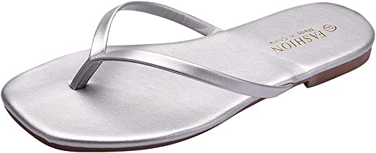 ANJUNIE Women Summer Flat Flip-Flops Slippers Simple Clip Toe Square Head Sandals Beach Walk Shoes