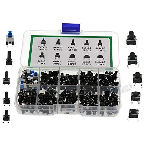 MAD HORNETS 180 piezas de 10 valores táctiles interruptor de botón micro momentáneo, kits surtidos