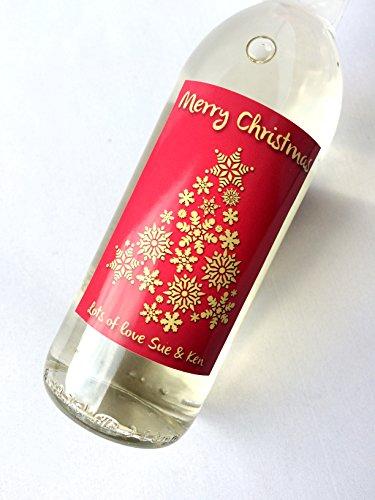 10x Kerstmis Gepersonaliseerde Rood Goud Sneeuwvlok Boom MINI Wijn & Champagne fles labels Celebration Gift voor Vrouwen en Mannen.