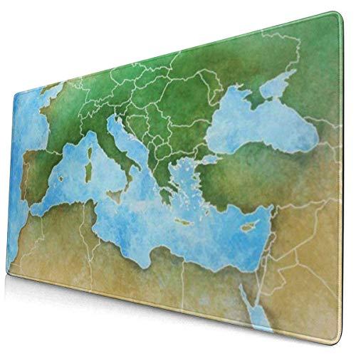HENTIN Antislip rubberen gamingmuismat, rechthoekige muismat Aquarel Frankrijk kaart van het Middellandse-Zeegebied Europa Afrika en het Midden-Oosten Algerije
