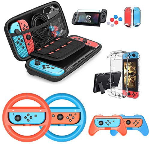 Nintendo Switch Case Bundle with 4 Pack Nintendo Switch Grip Kit HEYSTOP Switch Carry Case Pouch HD Switch Screen Protector Thumb Grips Caps for Nintendo Switch Console Accessories