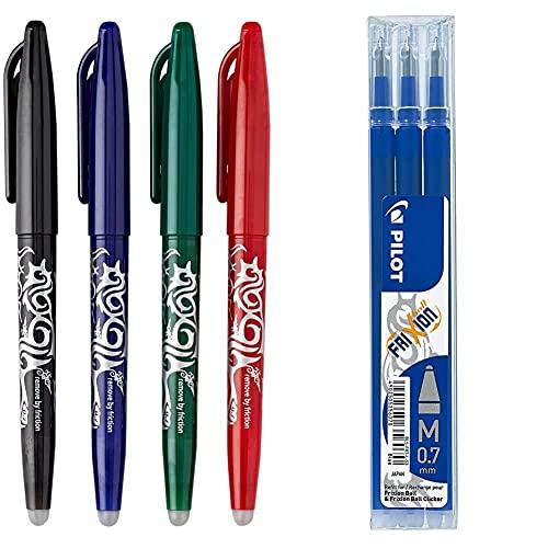 Pilot Penna Frixion Penna (Confezione Da 4), Colori Assortiti & Bls-Fr7-L-S3 Frixion Ball Refill Per Penna A Sfera, 0.7 Mm, Confezione Da 3, Blu