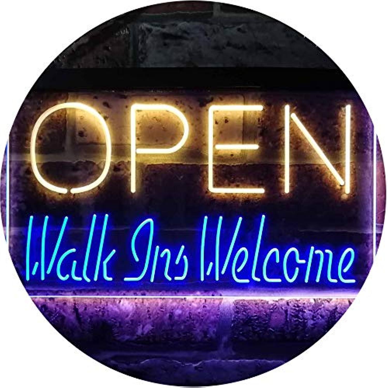 ADVPRO Open Walk Ins Welcome Display Business Dual Farbe LED Barlicht Neonlicht Lichtwerbung Neon Sign Blau & Gelb 400mm x 300mm st6s43-i2128-by