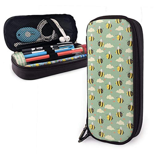 Pencil Case Pen Bag Cartoon Cute Bees Godlen Cloud Love Heart Shape Pencil Case, Large Capacity Pen Case Pencil Bag Stationery Pouch Pencil Holder Pouch with Big Compartments