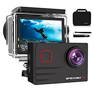 [2021 New]Apexcam 4K EIS 20MP WiFi Pro Action Camera 170° Wide-Angle Ultra HD Sports Camera External Mic Waterproof Underwater Camera With Remote Control Selfie Stick 2x1200mAh Rechargeable Batteries and Accessories Kits
