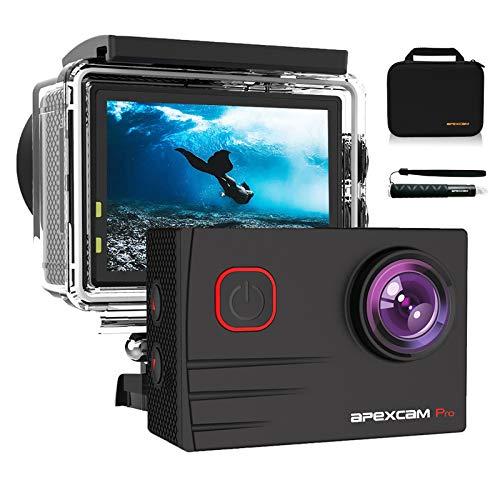 Apexcam Pro Cámara Deportiva 4K 20MP EIS WiFi Action Camera Cámara subacuática Impermeable 40M Micrófono Externo 2.0'LCD 170° Gran Angular 2.4G Remoto 2 baterías de 1200mAh y Otras