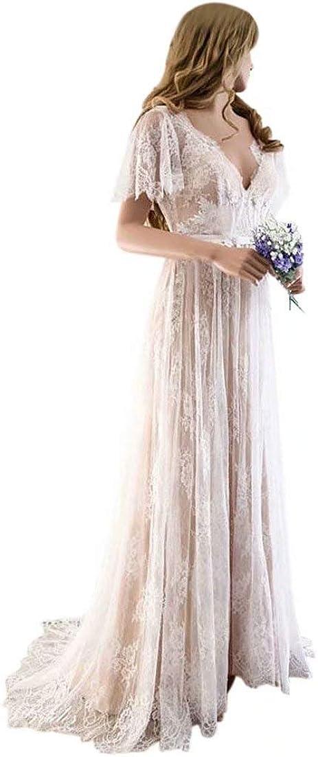 QueenBridal Women's Bohemian Wedding Dresses Short Sleeve V Neck Lace Beach Wedding Gowns QU187