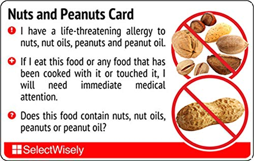Nuts and Peanuts Food Allergy Card with Translations in Italian or Any of 67 Languages from SelectWisely