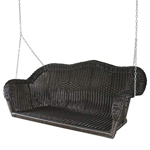 """Northlight 50"""" Chocolate Brown and Silver Resin Wicker Swing with Chain"""