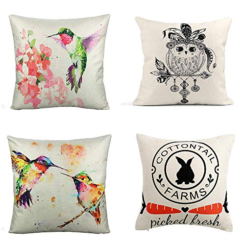 Pillowcases Cotton Linen Pillow Covers Fluffy Cushions Animal Cushion Cover For Living Room Sofa Couch Bed Pillowcases 4 Pcs 45X45Cm (With Invisible Zipper)