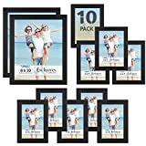 Icona Bay Combination Black Picture Frames Set - 10 PC (Five 4x6, Three 5x7, Two 8x10), Multi-Pack for Modern Wall Gallery, Exclusives Collection