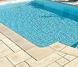 Beckenrandsteine solum (Flache Ausführung) oval Komplettpaket Farbe: Champagne 3,20m x 6,00m / 320 x 600 cm Randsteine Pool Stahlwandpool Ovalpool