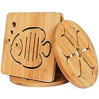 conisy resistenti al calore sottopentola in bambu adatti per la superficie della cucina - 4 pezzi sottobicchieri (16cm)