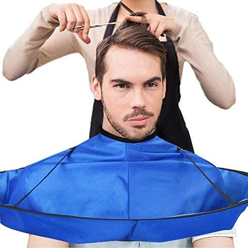 ODJOY-FAN Haarschneideumhang Schulter Cape Umhang verstellbar DIY Haare schneiden Mantel Regenschirm Kap Salon Friseur Coiffeur Zuhause Stylisten (Blau, 1PC)