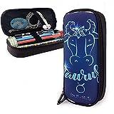 Caja redonda de la caja de lápiz del cuero del tauro del signo del zodiaco Caja de la pluma, bolsa de la bolsa de maquillaje del viaje de la caja de los efectos de escritorio