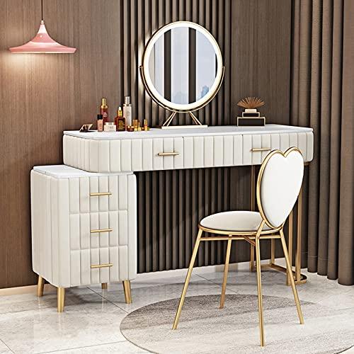 Juego de tocador, tocador, con cajones grandes y taburete acolchado, moderno armario de almacenamiento y maquillaje, apto para dormitorio y guardarropa, color blanco, 1,2 m