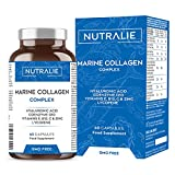 Colágeno Marino Hidrolizado Puro con Ácido Hialurónico, Q10, Vitaminas C E B12 y Licopeno   100% Péptidos de Colágeno   Mantenimiento de la Piel, Pelo, Articulaciones, Huesos   60 Cápsulas Nutralie