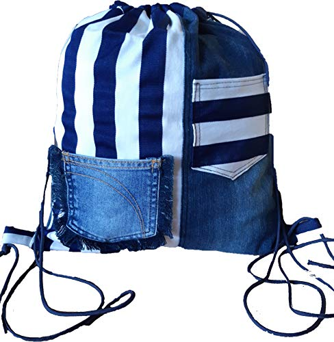 Merryland Handmade Jeanstasche Upcycling Damen Rucksack Jeans Unikat Einzelstück handgenähte Tasche Women Bag Backpack
