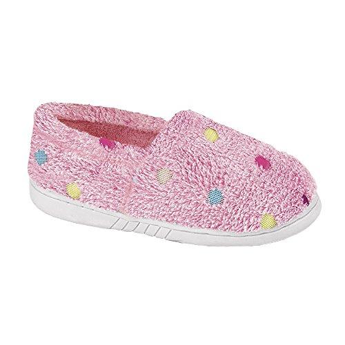 Zedzzz - Pantuflas Zapatillas de Andar por casa Molly de Peluche con Lunares para niños niñas (27 EU) (Rosa)