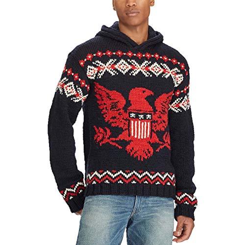 Polo Ralph Lauren Men's Intarsia Wool Sweater Hoodie (Large) Navy