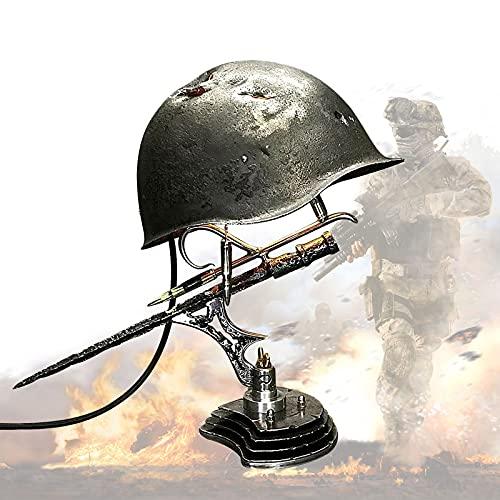 FONGDY Oorlog Helm Lamp,War Relic Lamp onthouden dat de geschiedenis, Oorlog stijl Decor Oorlog Helm Lamp onthouden dat…