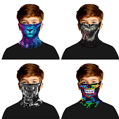 4Pcs Face Scarf Bandana Ear Loops Face Rave Balaclava Face Cover Mask Kids Youth Neck Gaiters for Dust Wind Sun
