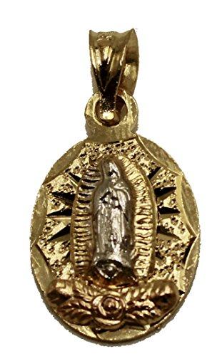 Diamantados de Florida Virgen de Guadalupe 3 Tonos Flor Medalla 18 K Chapado en Oro con Cadena de 18 Pulgadas