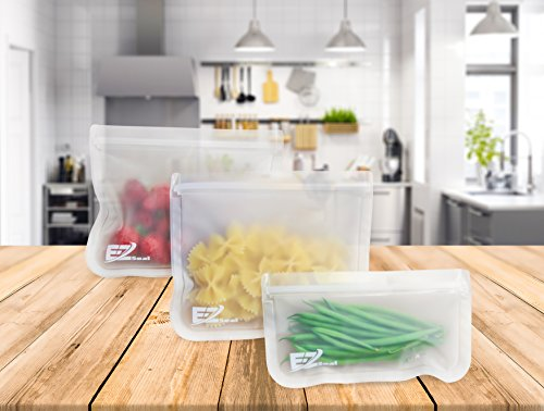 E-Z Seal EXTRA THICK Reusable PEVA Storage Bag for Food | Kids Snacks | Ziplock | Freezer | Lunch Sandwiches | Leakproof | Make-up | Travel | Meal Prep | Home Organisation (6 Pack Large Size -Clear)