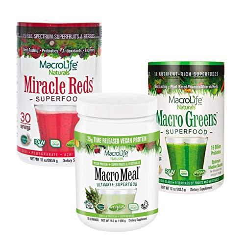 MacroLife Naturals Complete Protein Bundle 3ct - Macro Greens Superfood Powder 30oz (90 Servings) + Miracle Reds Superfood Powder 30oz (90 Servings) + MacroMeal Vegan Vanilla Protein (28 Servings)