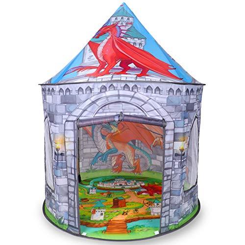 Tacobear Dinosauro Tenda per Bambini Tenda Cavalieri e Draghi Tenda da Gioco Portatile Tenda Pop Up Casa Gioco Castello Giochi per Bambini per Interni ed Esterni con Borsa per Trasporto