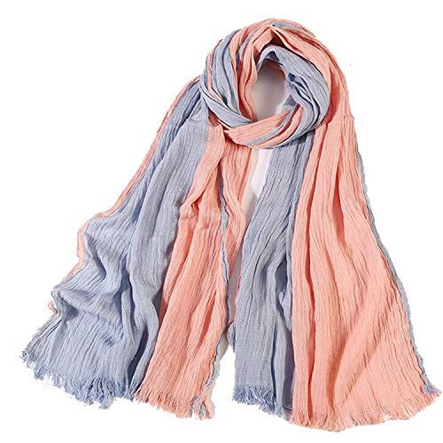100% Cotton Scarf Men Long Striped Scarf Luxury Warm Autumn Winter Scarves Orange Blue