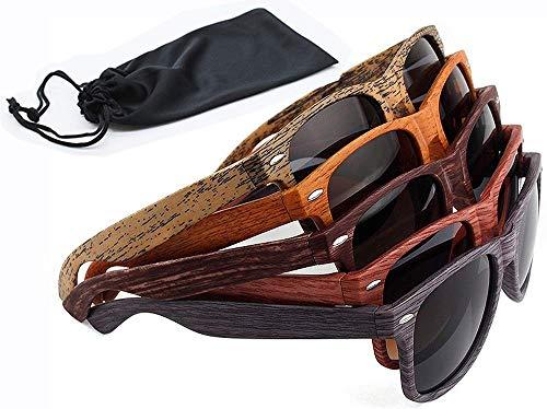 Netrox Gafas De Sol Hombre y Mujeres UV400 Gafas madera aspecto de madera Sunglass al aire libre cuadrado (rojo)