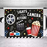 Movie Birthday Party Decorations Banner Photo Studio Booth Background Movie Night Lights Vintage Camera Action Dress-up Black Backdrops Props for Photography 5X3FT