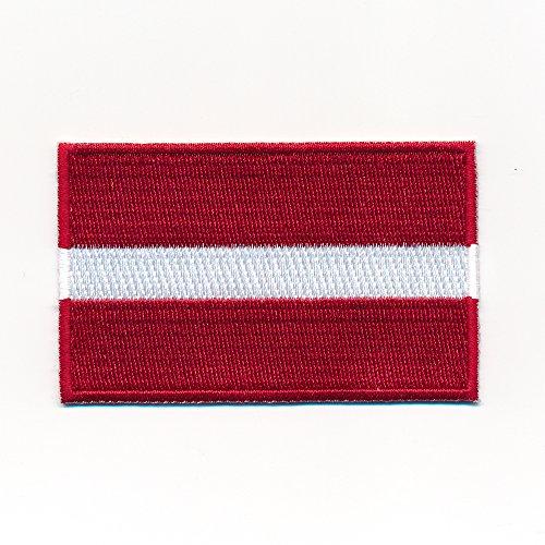 30 x 20 mm Lettland Riga Flagge Baltikum Flag Patch Aufnäher Aufbügler 1053 Mini
