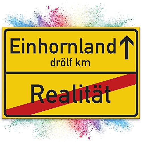 Einhorn Schild - gelbes Ortsschild/Ortstafel Einhornland, Deko/Wanddeko, Geschenk - Unicorn...