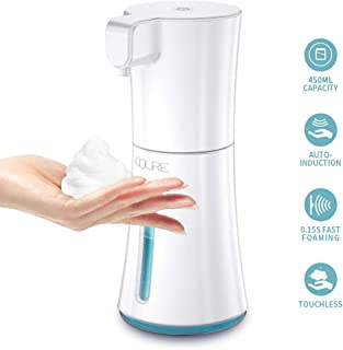 CQURE 450ml/15.2oz Automatic Soap Dispenser,Automatic Foaming Hand Free Soap Dispenser Touchless, Battery Operated Foam Liquid Soap Dispenser for Bathroom Kitchen (White)