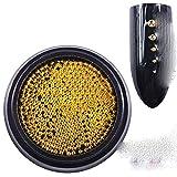 Perlas para clavos Micro Metal Perlas 0.6-2.0mm 3D Stud Aleación Joyería Encantos Suministros Arte Decoraciones Acero Caviar Ball-1.5mm Oro 6g