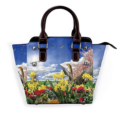 BROWCIN Paisaje de primavera Flores coloridas Patos Avión de juguete Aves Prado verde Desmontable Moda Tendencia Bolso de las señoras Bolso de hombro