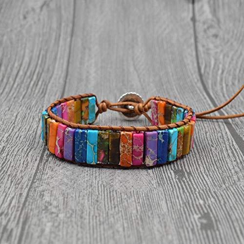 Bracelet New Leder Chakra Handgewebte Kaiser Stein Verstellbare Farbe Chakra Armband Stil Marmor Muster Ethnischen Stil