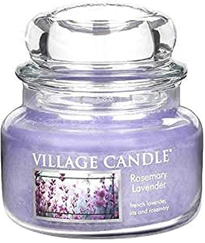 Village Candle 106311810 Rosemary Lavender Pot de Verre, Violet, 10,1 x 10,1 x 9,9 cm