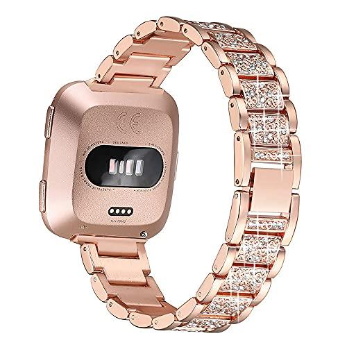 G-RF Bandas De Reloj para Fitbit Versa 2/ Versa/Versa Lite Acero De Aleación De Diamante De Tres Cuentas Correa (Rose Oro)