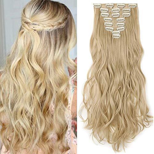 TESS Haarteile Clip in Extensions wie Echthaar Ombre günstig Haarverlängerung 8 Tressen 18 Clips Haarteil Gewellt 17