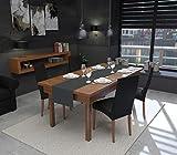 Rollmayer Hochwertiger Tischläufer Tischwäsche Uni einfarbig Pflegeleicht Kollektion Vivid, Farbe & Größe wählbar (Grafit 33, 30x100cm) - 2