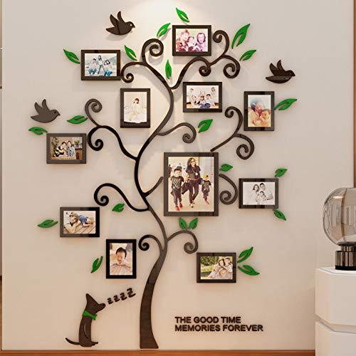 Encoft 3D Pegatina de Árbol Vinilos Hojas Negros 132 * 160 cm con 11 pcs Marcos de Foto Adhesivo Decorativo de Pared para Dormitorio Hogar Oficina (L, verde negro)