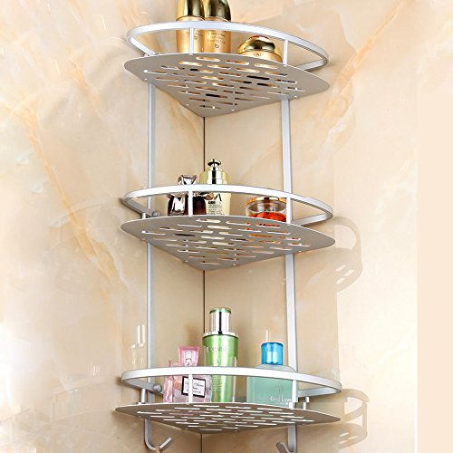 Sunmics No Drilling Bathroom Corner Shelves, Aluminum 3 Tier Shower Shelf Caddy Adhesive Storage Basket for Shampoo (Corner)