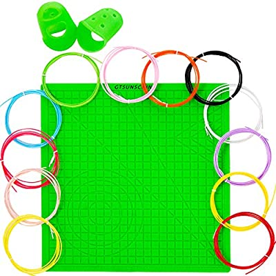 3D Pen Silicone Mat Set -3D Green Pen Pad Silicone 12.2 X 12.2 inches with 5 Basic Templates 12 Pcs 3D Pens Filament Different Colors and 2 Silicone Finger Protector for DIY Art Drawing Tools Printing