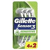 Gillette Sensor3 Sensitive Einwegrasierer Männer mit verbesserten Gleitstreifen, 6 Rasierer